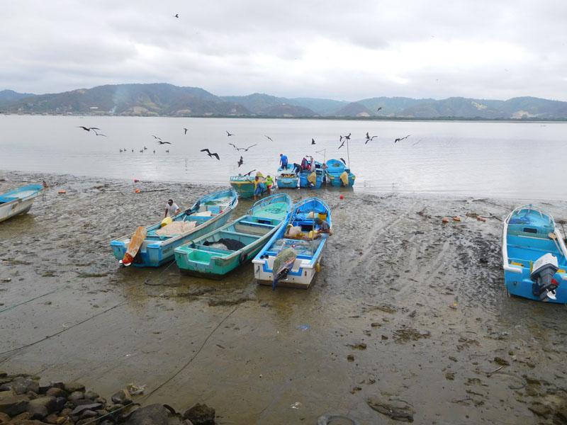 Das Ufer vom Chone fällt bei Ebbe großflächig trocken