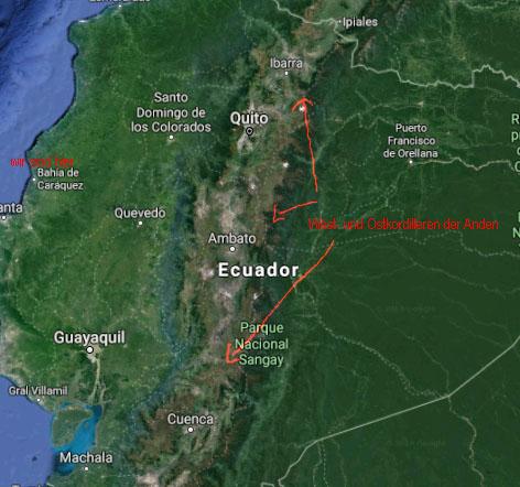 Ecuador wird durch die Anden in zwei Hälften geteilt. Schwierig zu überwindende natürliche Hindernisse.