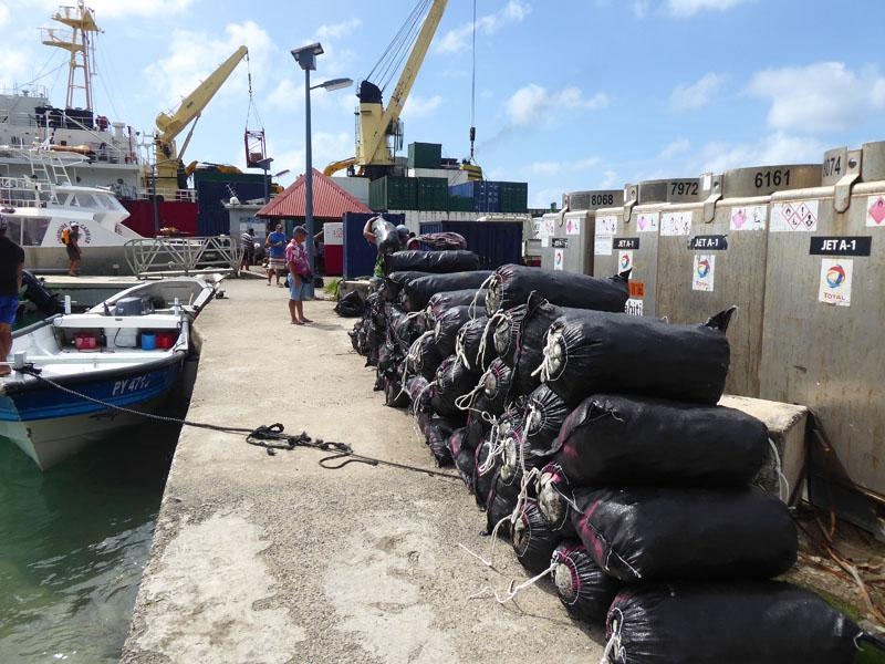 Säckeweise Muschelschalen gehen nach Tahiti